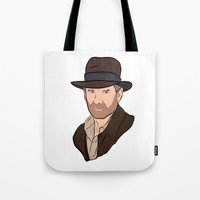indiana jones Tote Bags featuring Indiana Jones by Rachel Barrett