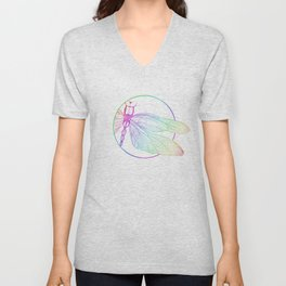 Iridescent Dragonfly Unisex V-Neck