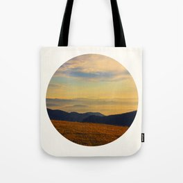 Mid Century Modern Round Circle Photo Graphic Design Beautiful Sunset Over A Field Mountain Range Tote Bag