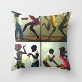 African American Masterpiece 'Jubilee Day - Juneteenth' collage painting by O. Bulman Throw Pillow
