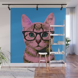 Geek Cat with Glasses Wall Mural