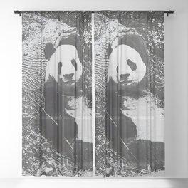 Urban Pop Art Panda Sheer Curtain