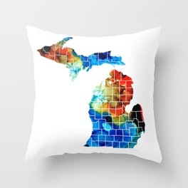 Michigan State Map - Counties by Sharon Cummings Throw Pillow