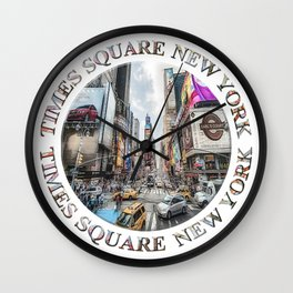 Times Square Traffic (digitally repainted poster) Wall Clock