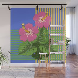 Monstera leaves and Hibiscus flowers on striped background Wall Mural