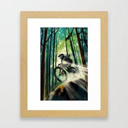 Forest jump mountain biker Framed Art Print