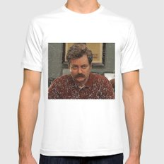 Ron Swanson, Nick Offerman, Parks and recreation White MEDIUM Mens Fitted Tee