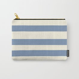 Dusk Sky Blue 27-23 Hand Drawn Fat Horizontal Lines on Dover White 33-6 Carry-All Pouch