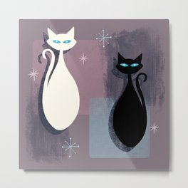 Jazzy Midcentury Modern Black And White Abstract Cats Metal Print