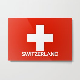 Switzerland country flag name text swiss Metal Print