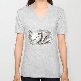 Sleeping Cat Pen & Ink Unisex V-Neck