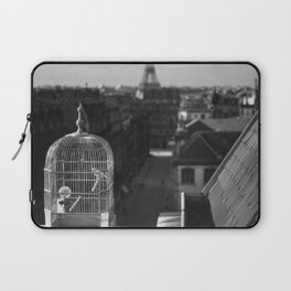 The Gilded Bird Cage, Paris, Eiffel Tower panorama black and white photography / photograph Laptop Sleeve