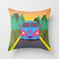 volkswagon Throw Pillows featuring Das Auto by Daizy Jain