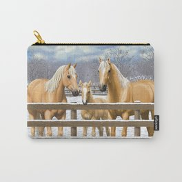 Palomino Quarter Horses In Snow Carry-All Pouch