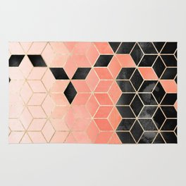 Black And Coral Cubes Rug