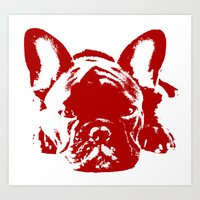 frenchie Art Prints featuring Frenchie by Red Eyes Apparel