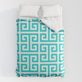 Large Dark Turquoise Greek Key Pattern Comforters