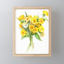 Dandelion Flowers, Herbal, herbs, field flowers, yellow floral design Framed Mini Art Print