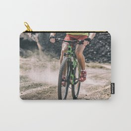 MTB mountain biking extreme biker on dirt trail bike Carry-All Pouch