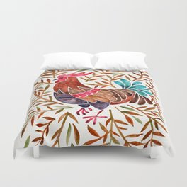 Le Coq – Watercolor Rooster with Sepia Leaves Duvet Cover