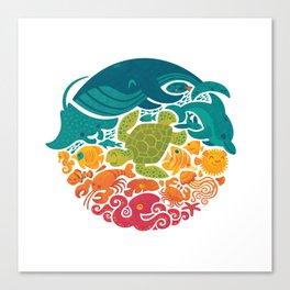 Aquatic Rainbow (white) Canvas Print