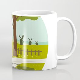 Girl Riding Bicycle Up Tree Circle Retro Coffee Mug