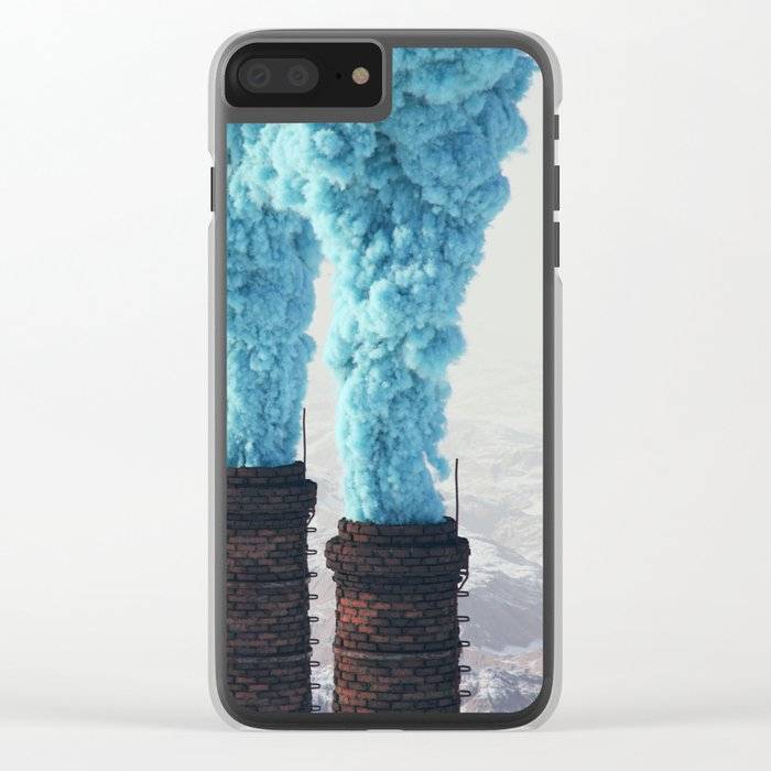 Blue Pollution Clear iPhone Case