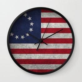 Betsy Ross flag - grungy Wall Clock