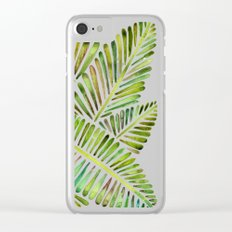 Tropical Banana Leaves – Green Palette Clear iPhone Case