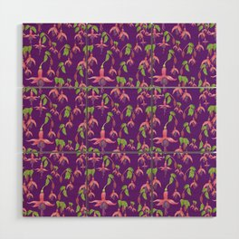 Watercolour Fuchsia Flower Pattern - Purple Wood Wall Art