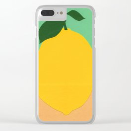 Lemon With Two Leaves Clear iPhone Case