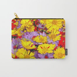 RED YELLOW FLOWERS MODERN ART  PATTERN Carry-All Pouch