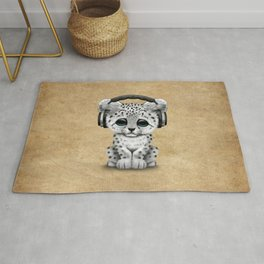 Cute Snow leopard Cub Dj Wearing Headphones Rug