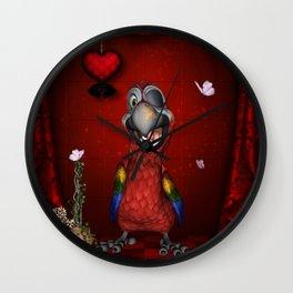 Funny, cute parrot Wall Clock