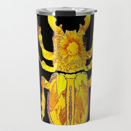 GOLDEN STAG HORNED STYLE BEETLE ABSTRACT BLACK Travel Mug