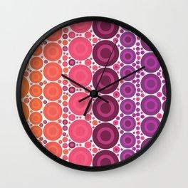 Retro Multicolored Polka Dots. Orange, Pink and Purple Pattern Wall Clock