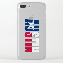 Austin TX Text with Lone Star Flag Underlay Clear iPhone Case