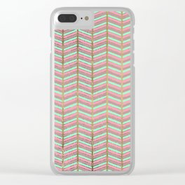 Modern faux gold pink turquoise geometrical chevron Clear iPhone Case