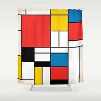 mondrian Shower Curtains featuring Mondrian  by Studio 401