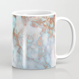 Rose Marble with Rose Gold Veins and Blue-Green Tones Coffee Mug