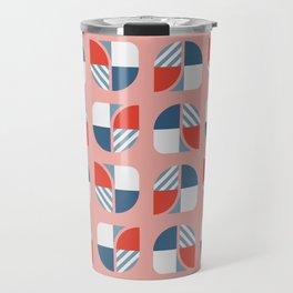 Modern geometry colorful check pattern rose background Travel Mug