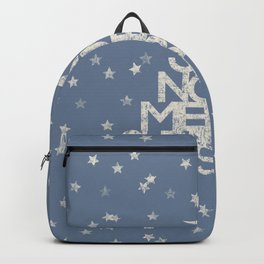 Joy-Noel-Merry Christmas- Typography and stars on fresh wintry gray Backpack