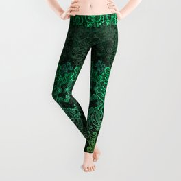 lace cascade green Leggings