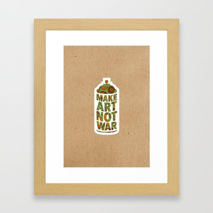 Make Art Not War Kraft Framed Art Print