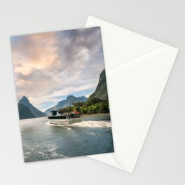 A Cruise going into Sunset at Milford Sound Stationery Cards