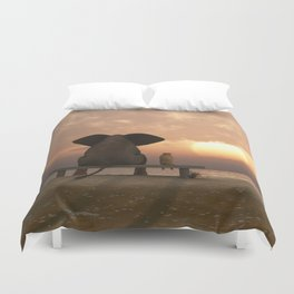 Elephant and Dog Friends Duvet Cover