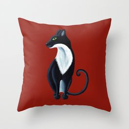 Black and White Cat Statuesque Throw Pillow