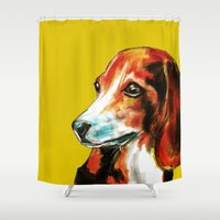 beagle Shower Curtains featuring Beagle by James Peart
