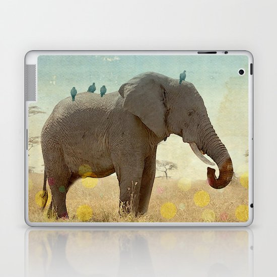 along for the ride _ an elephant and his feathered friends Laptop & iPad Skin