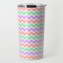 Coral Peach Pink and Lavender and Mint Green Chevron Travel Mug